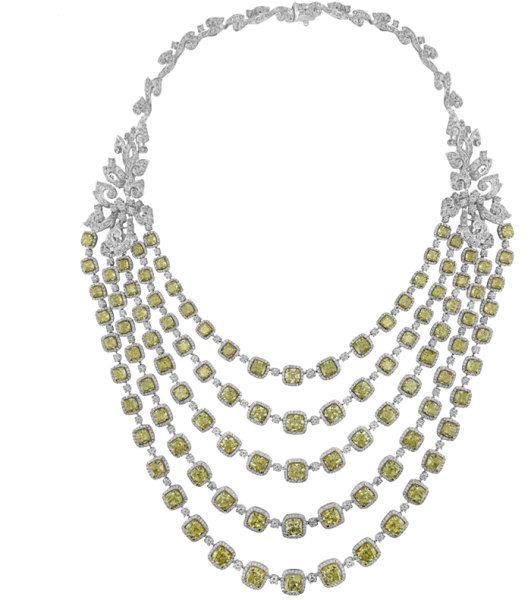 White gold Necklace set with Yellow and White Diamond Set - 156.87 ct