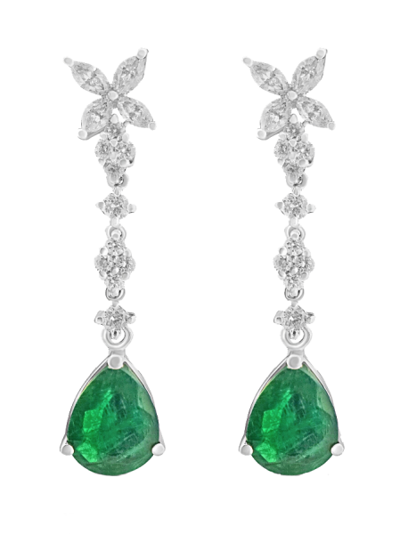 White Gold Pear Cut Emerald and Diamond Earrings - 3.59 ct